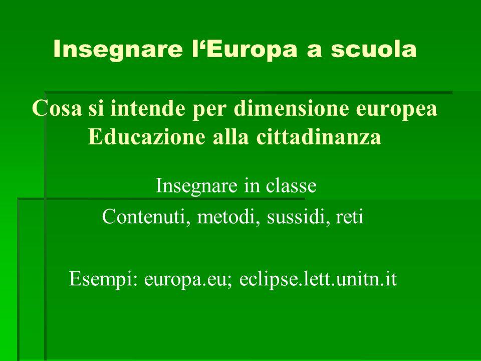 Insegnare l'Europa a scuola Cosa si intende per dimensione europea Educazione alla cittadinanza Insegnare in classe Contenuti, metodi, sussidi, reti E