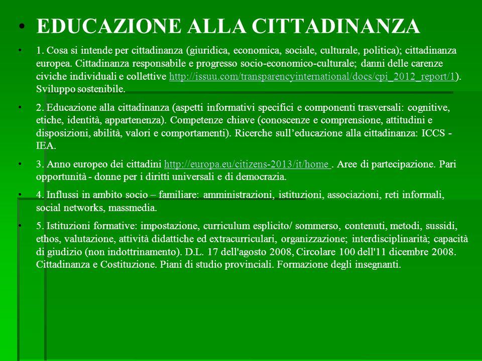 EDUCAZIONE ALLA CITTADINANZA 1. Cosa si intende per cittadinanza (giuridica, economica, sociale, culturale, politica); cittadinanza europea. Cittadina