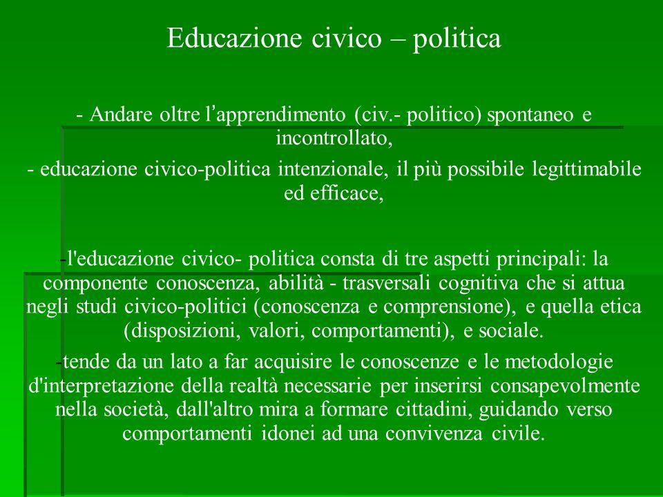 Educazione civico – politica - Andare oltre l'apprendimento (civ.- politico) spontaneo e incontrollato, - educazione civico-politica intenzionale, il