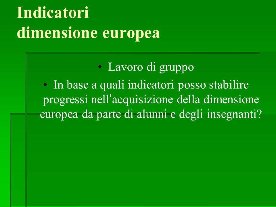 Indicatori dimensione europea Lavoro di gruppo In base a quali indicatori posso stabilire progressi nell'acquisizione della dimensione europea da part