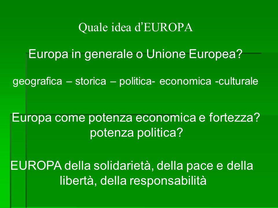 Quale idea d'EUROPA Europa in generale o Unione Europea? geografica – storica – politica- economica -culturale Europa come potenza economica e fortezz