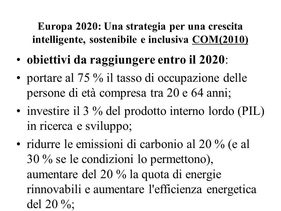 Europa 2020: Una strategia per una crescita intelligente, sostenibile e inclusiva COM(2010) obiettivi da raggiungere entro il 2020: portare al 75 % il