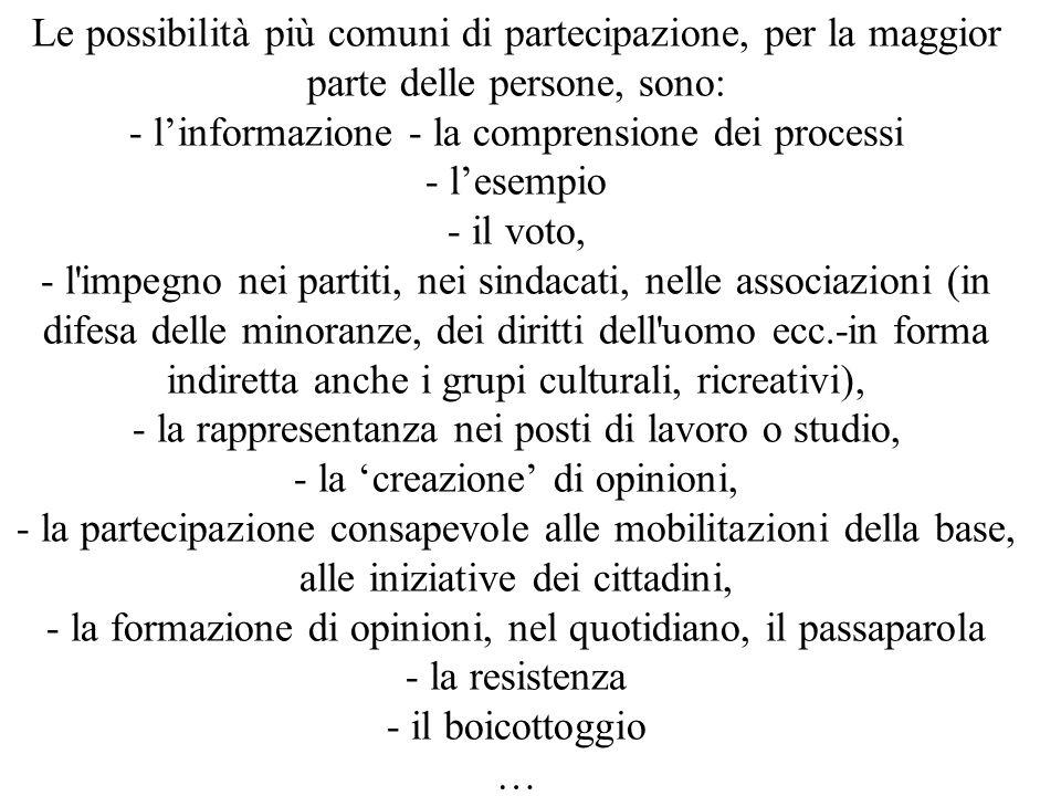 Le possibilità più comuni di partecipazione, per la maggior parte delle persone, sono: - l'informazione - la comprensione dei processi - l'esempio - i