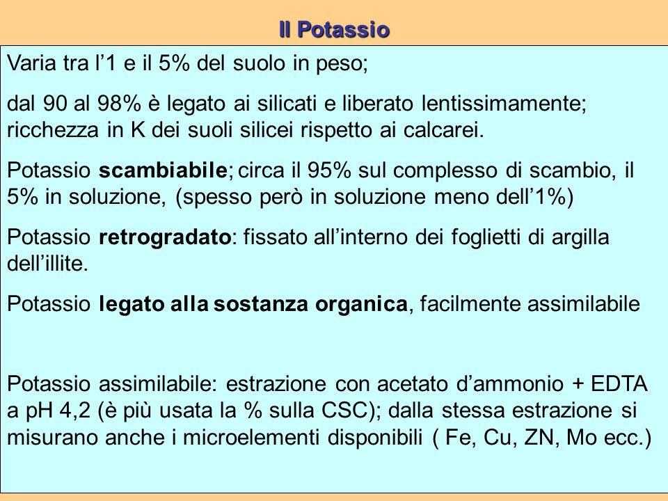 Varia tra l'1 e il 5% del suolo in peso; dal 90 al 98% è legato ai silicati e liberato lentissimamente; ricchezza in K dei suoli silicei rispetto ai calcarei.