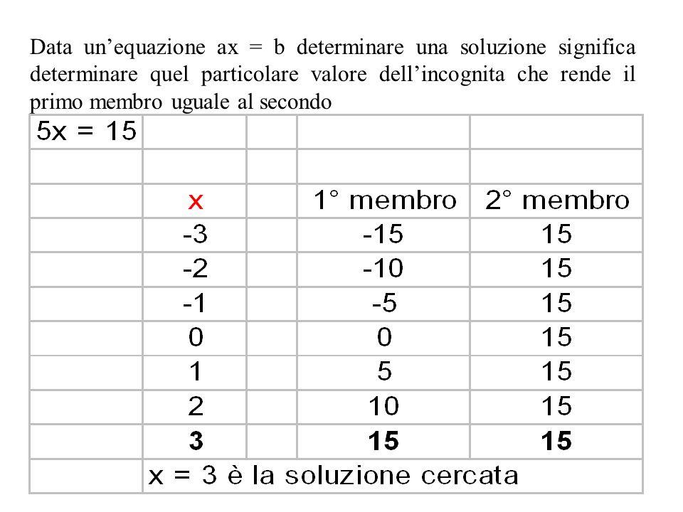 Data una generica equazione: ax = b con a, b, x   Chiameremo 1° membro l'espressione posta a sinistra dell'uguale e 2° membro l'espressione a destra