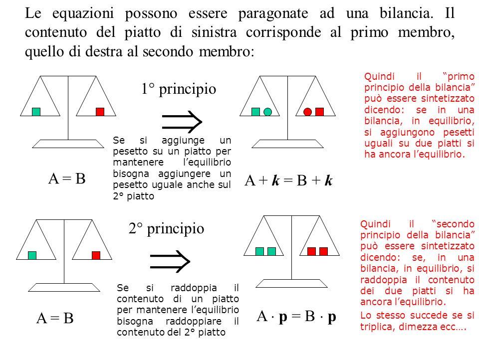  A = B A + k = B + k 1° principio  A = B A  p = B  p 2° principio Le equazioni possono essere paragonate ad una bilancia.