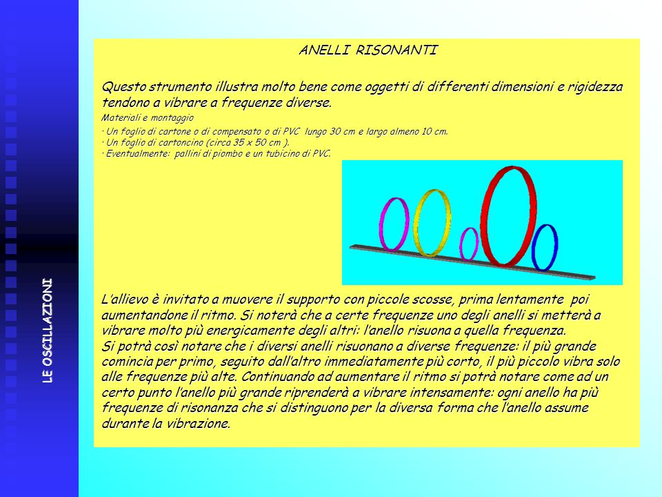 ANELLI RISONANTI Questo strumento illustra molto bene come oggetti di differenti dimensioni e rigidezza tendono a vibrare a frequenze diverse. Materia