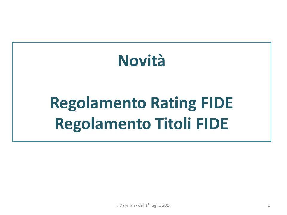 1F. Dapiran - dal 1° luglio 2014 Novità Regolamento Rating FIDE Regolamento Titoli FIDE