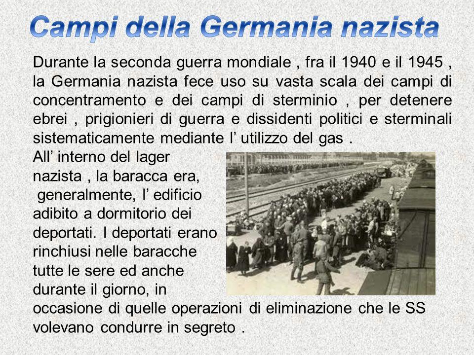 Durante la seconda guerra mondiale, fra il 1940 e il 1945, la Germania nazista fece uso su vasta scala dei campi di concentramento e dei campi di ster