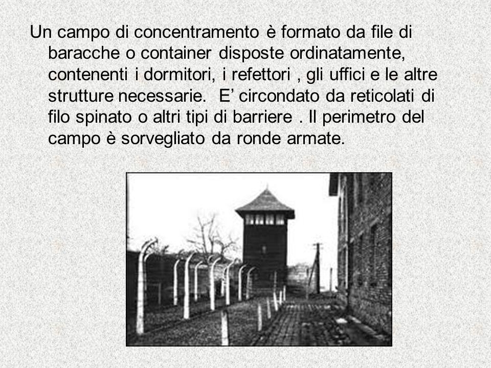 Un campo di concentramento è formato da file di baracche o container disposte ordinatamente, contenenti i dormitori, i refettori, gli uffici e le altr