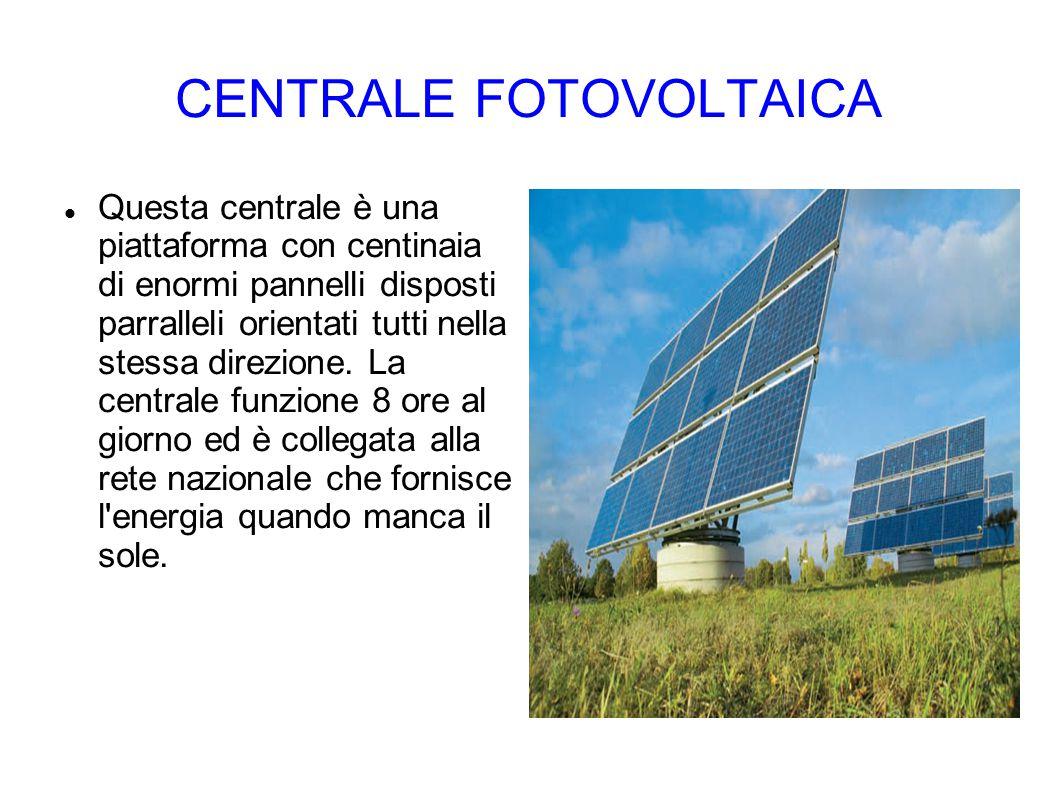 CENTRALE FOTOVOLTAICA Questa centrale è una piattaforma con centinaia di enormi pannelli disposti parralleli orientati tutti nella stessa direzione. L