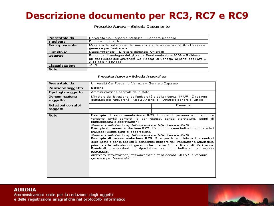 AURORA Amministrazioni unite per la redazione degli oggetti e delle registrazioni anagrafiche nel protocollo informatico Descrizione documento per RC3, RC7 e RC9