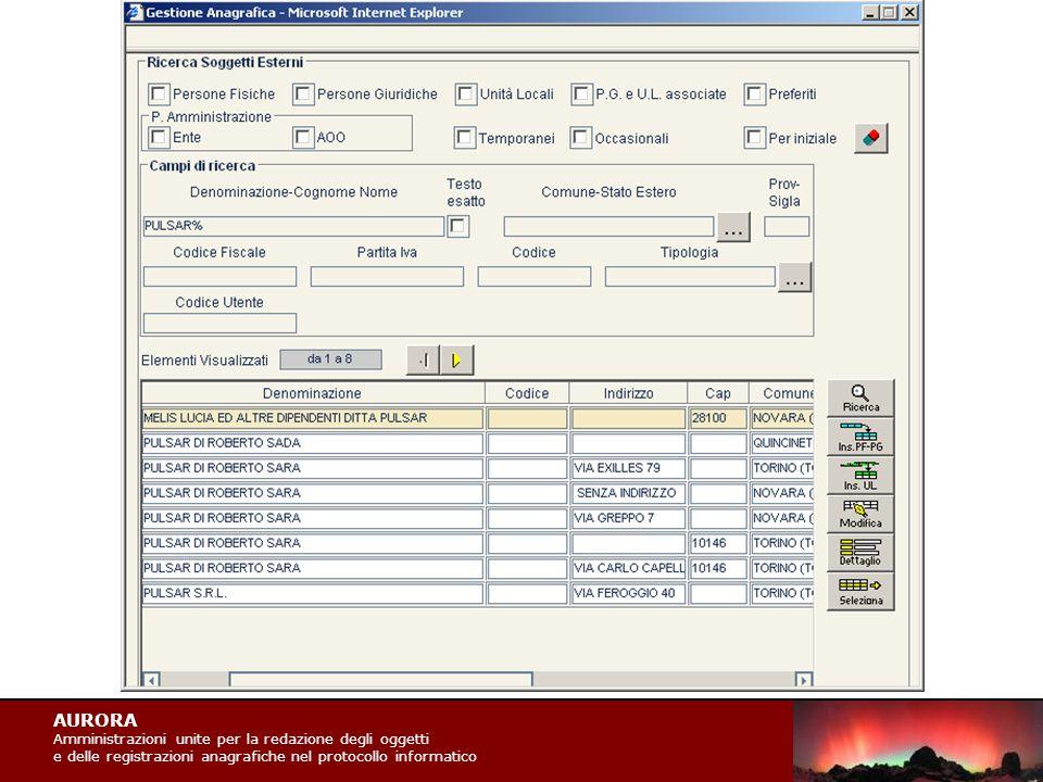 AURORA Amministrazioni unite per la redazione degli oggetti e delle registrazioni anagrafiche nel protocollo informatico