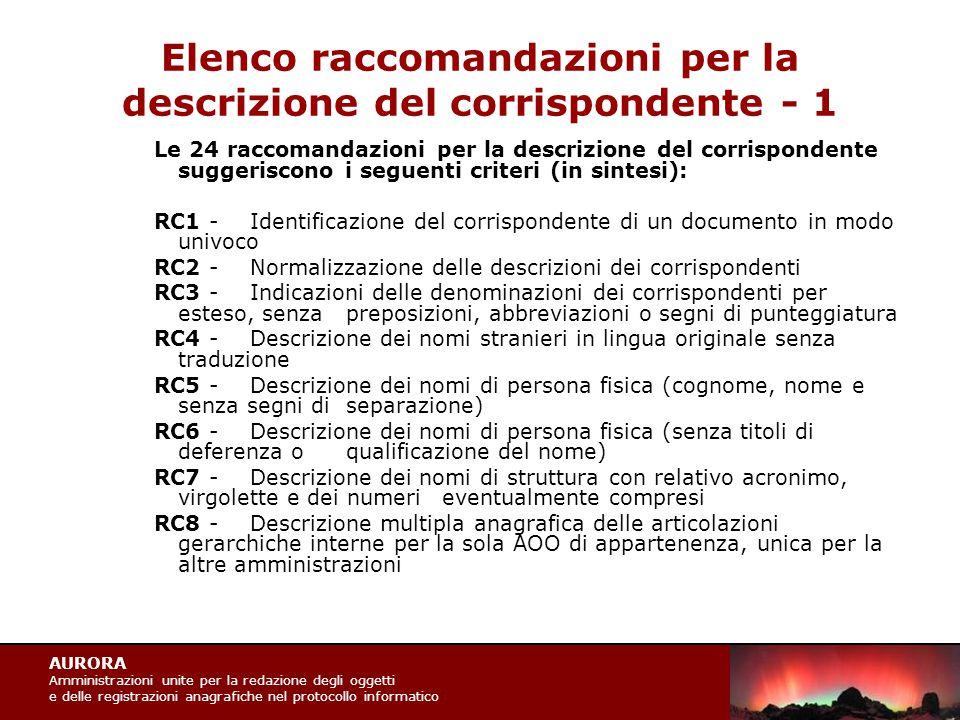 AURORA Amministrazioni unite per la redazione degli oggetti e delle registrazioni anagrafiche nel protocollo informatico Elenco raccomandazioni per la descrizione del corrispondente - 1 Le 24 raccomandazioni per la descrizione del corrispondente suggeriscono i seguenti criteri (in sintesi): RC1 -Identificazione del corrispondente di un documento in modo univoco RC2 -Normalizzazione delle descrizioni dei corrispondenti RC3 -Indicazioni delle denominazioni dei corrispondenti per esteso, senza preposizioni, abbreviazioni o segni di punteggiatura RC4 -Descrizione dei nomi stranieri in lingua originale senza traduzione RC5 -Descrizione dei nomi di persona fisica (cognome, nome e senza segni di separazione) RC6 -Descrizione dei nomi di persona fisica (senza titoli di deferenza o qualificazione del nome) RC7 -Descrizione dei nomi di struttura con relativo acronimo, virgolette e dei numeri eventualmente compresi RC8 -Descrizione multipla anagrafica delle articolazioni gerarchiche interne per la sola AOO di appartenenza, unica per la altre amministrazioni