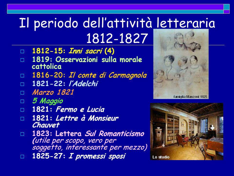 Il periodo dell'attività letteraria 1812-1827  1812-15: Inni sacri (4)  1819: Osservazioni sulla morale cattolica  1816-20: Il conte di Carmagnola