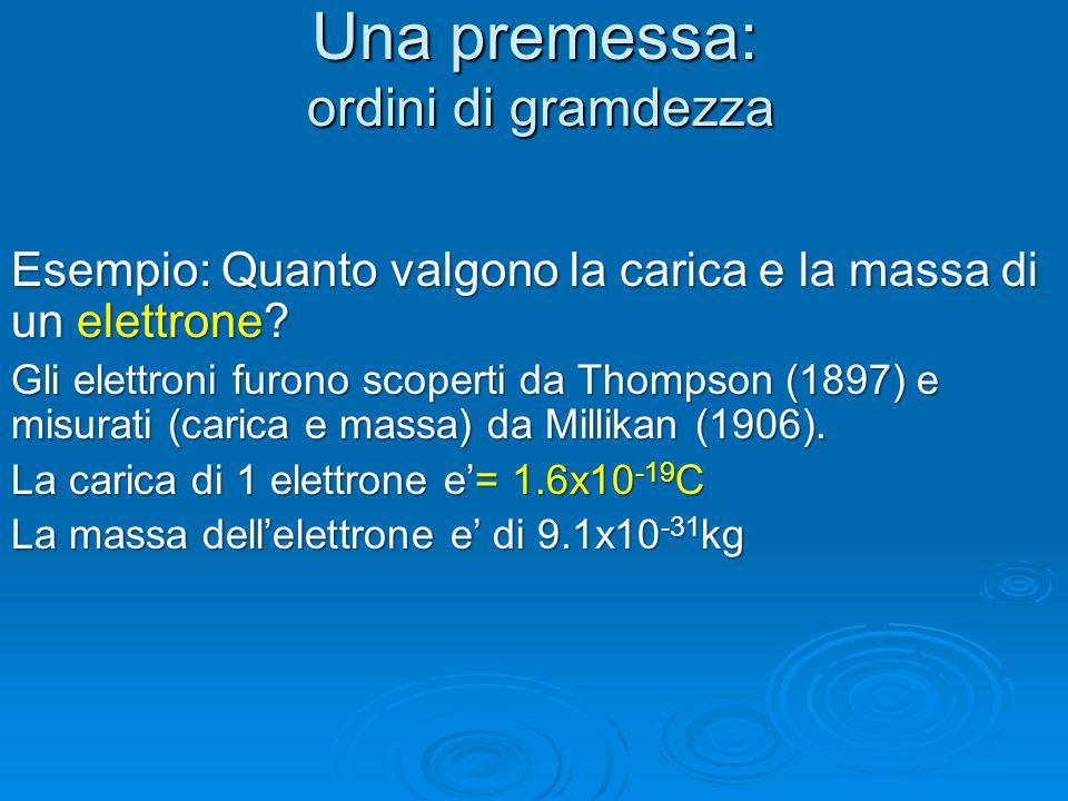Una premessa: ordini di gramdezza Esempio: Quanto valgono la carica e la massa di un elettrone? Gli elettroni furono scoperti da Thompson (1897) e mis