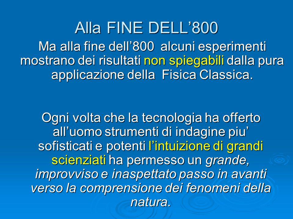 Alla FINE DELL'800 Ma alla fine dell'800 alcuni esperimenti mostrano dei risultati non spiegabili dalla pura applicazione della Fisica Classica. Ogni
