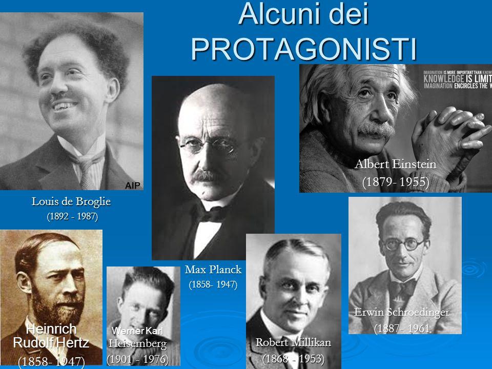 Alcuni dei PROTAGONISTI Louis de Broglie (1892 - 1987) Max Planck (1858- 1947) Albert Einstein (1879- 1955) Erwin Schroedinger (1887- 1961 Heinrich Ru