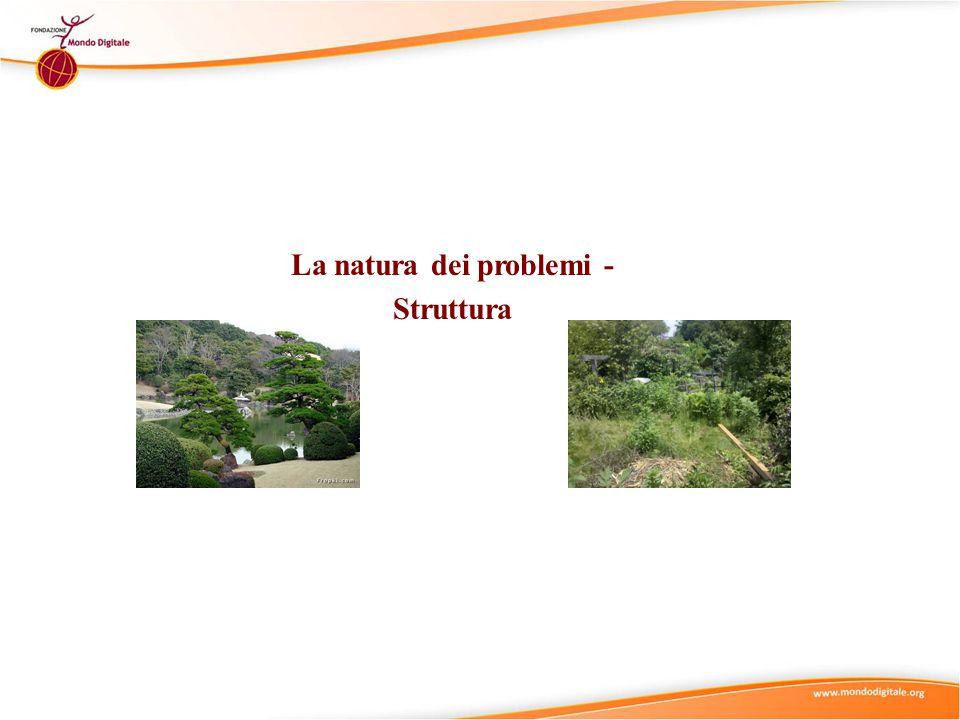 Natura dei problemi I problemi possono variare per il numero delle materie/discipline coinvolte Una materiaMaterie multiple Interdisciplinarità
