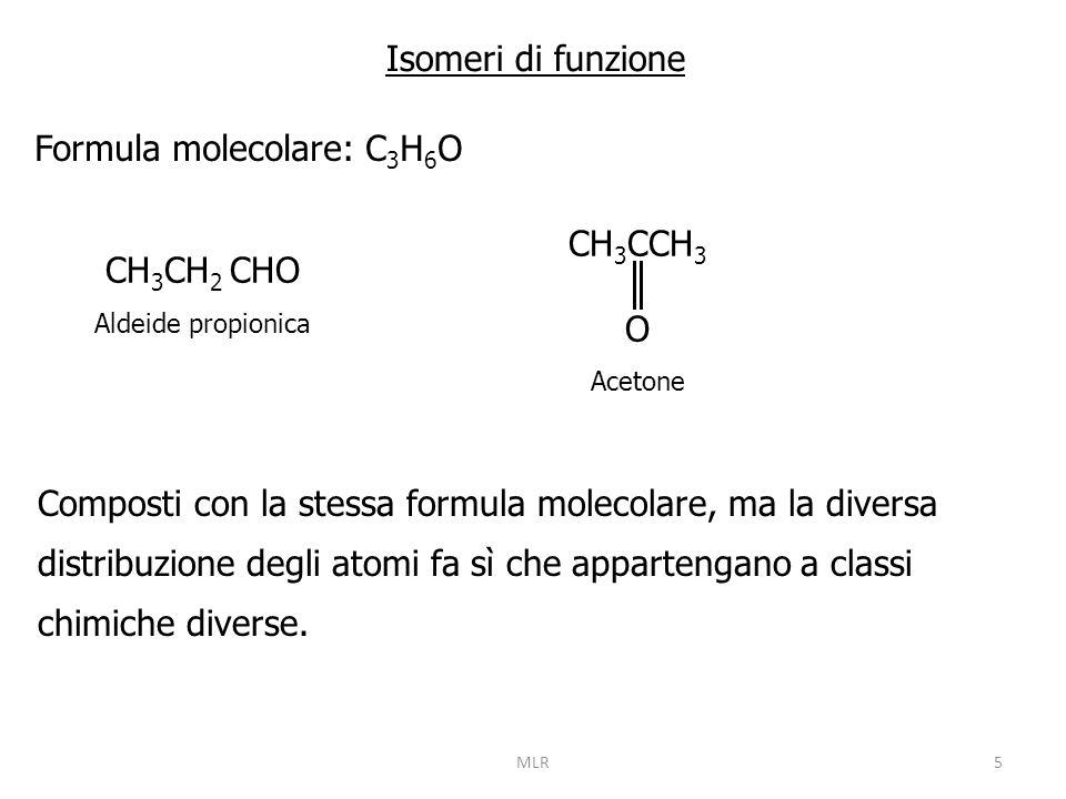 6 Isomeri di posizione Formula molecolare: C 3 H 7 Cl CH 3 CH 2 CH 2 Cl 1-cloropropano CH 3 CHCH 3 Cl 2-cloropropano Composti con la stessa formula molecolare, diversi per la posizione di un sostituente nella catena di atomi di carbonio.