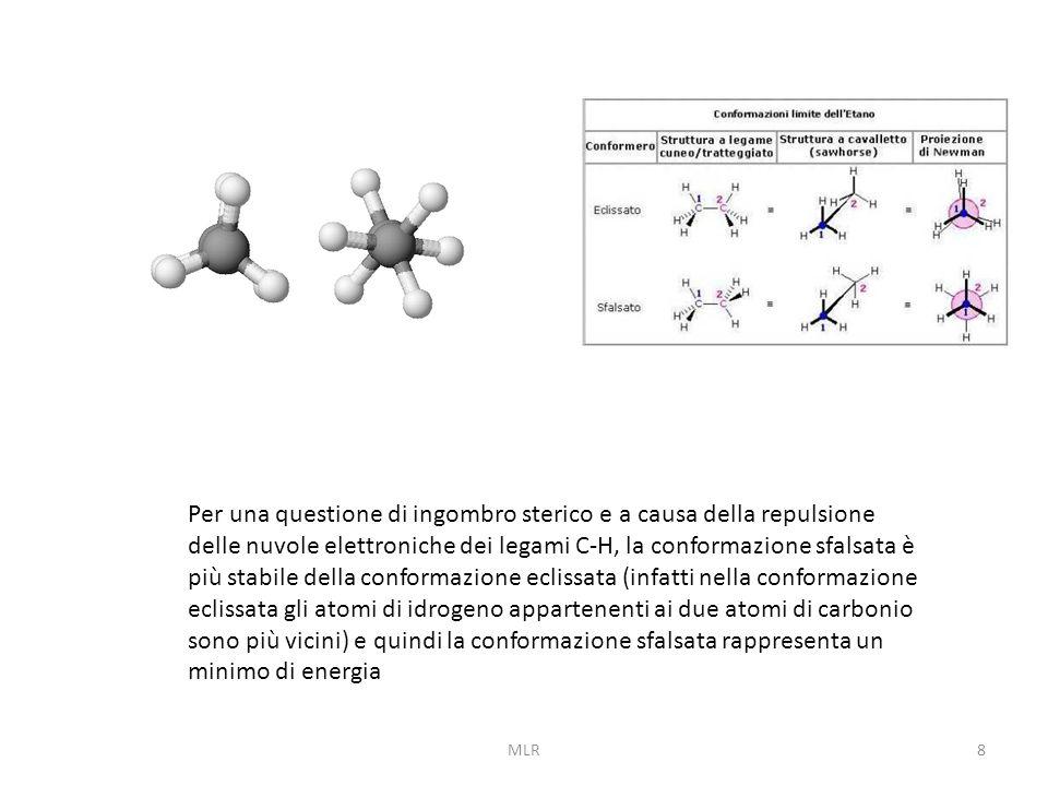 8 Per una questione di ingombro sterico e a causa della repulsione delle nuvole elettroniche dei legami C-H, la conformazione sfalsata è più stabile della conformazione eclissata (infatti nella conformazione eclissata gli atomi di idrogeno appartenenti ai due atomi di carbonio sono più vicini) e quindi la conformazione sfalsata rappresenta un minimo di energia MLR