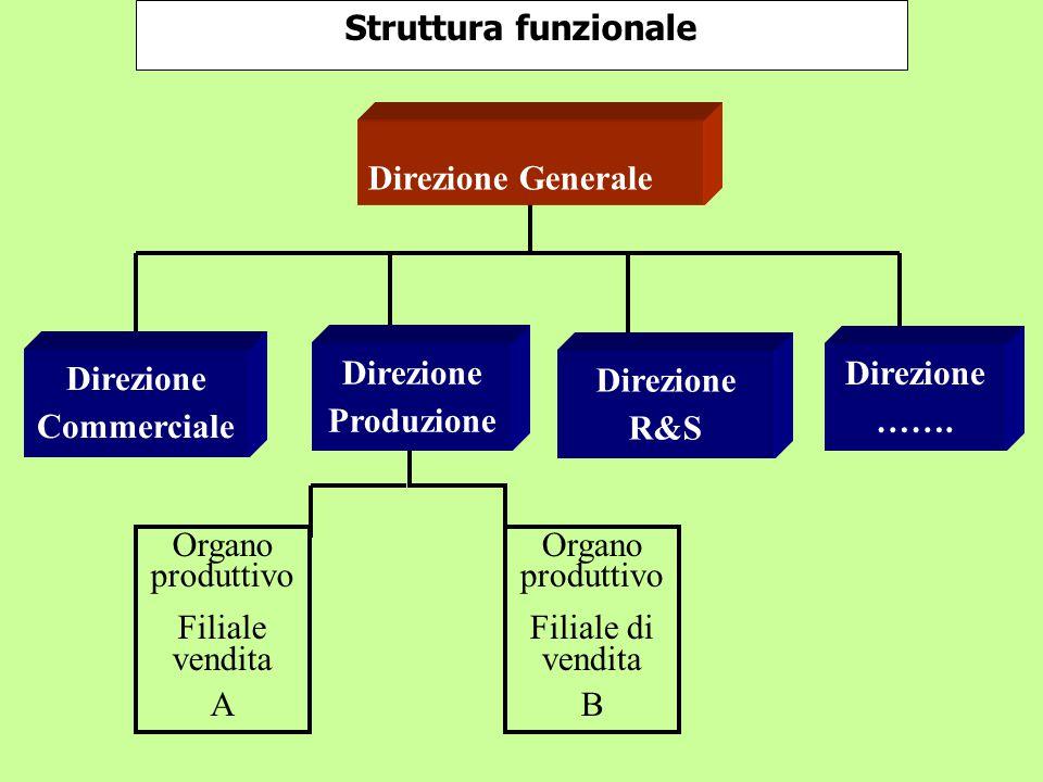 Organo produttivo Filiale di vendita B Organo produttivo Filiale vendita A Struttura funzionale Direzione Commerciale Direzione Produzione Direzione R&S Direzione …….