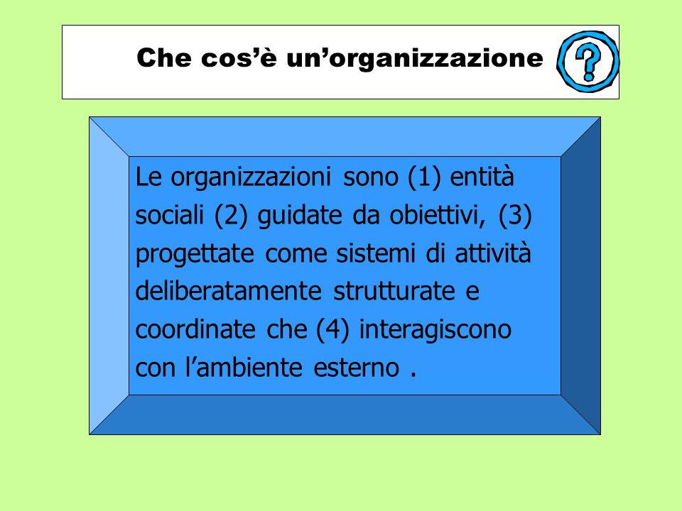 Che cos'è un'organizzazione Le organizzazioni sono (1) entità sociali (2) guidate da obiettivi, (3) progettate come sistemi di attività deliberatamente strutturate e coordinate che (4) interagiscono con l'ambiente esterno.