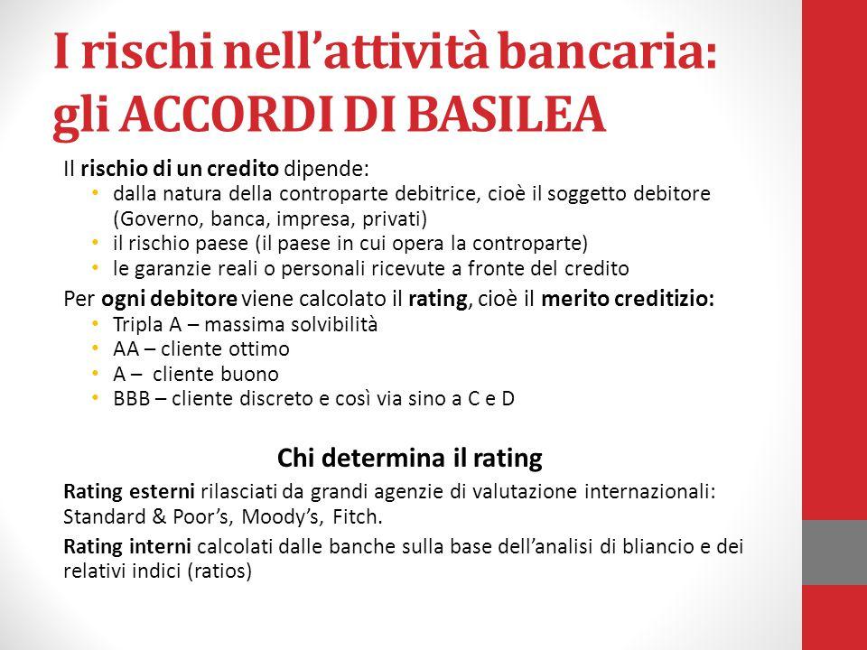 I rischi nell'attività bancaria: gli ACCORDI DI BASILEA Il rischio di un credito dipende: dalla natura della controparte debitrice, cioè il soggetto d