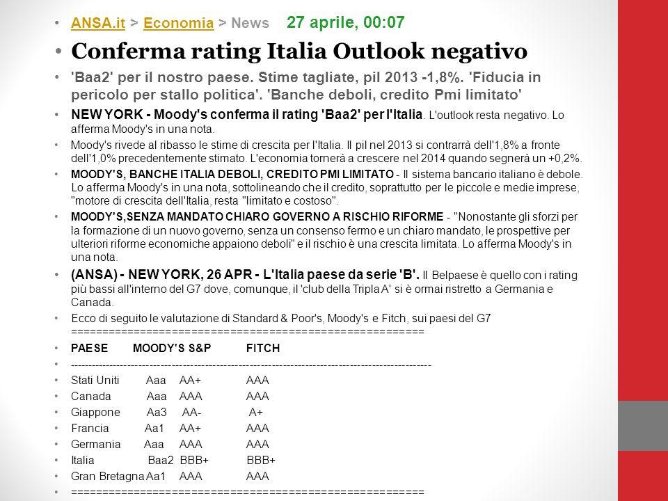 ANSA.it > Economia > News 27 aprile, 00:07ANSA.itEconomia Conferma rating Italia Outlook negativo 'Baa2' per il nostro paese. Stime tagliate, pil 2013