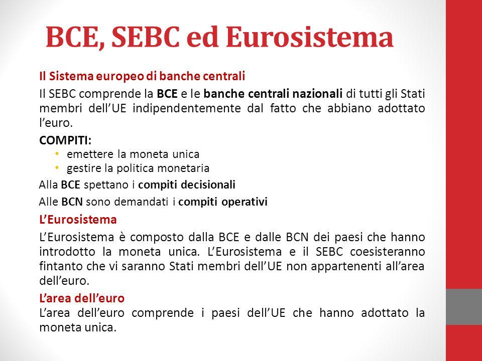BCE, SEBC ed Eurosistema Il Sistema europeo di banche centrali Il SEBC comprende la BCE e le banche centrali nazionali di tutti gli Stati membri dell'