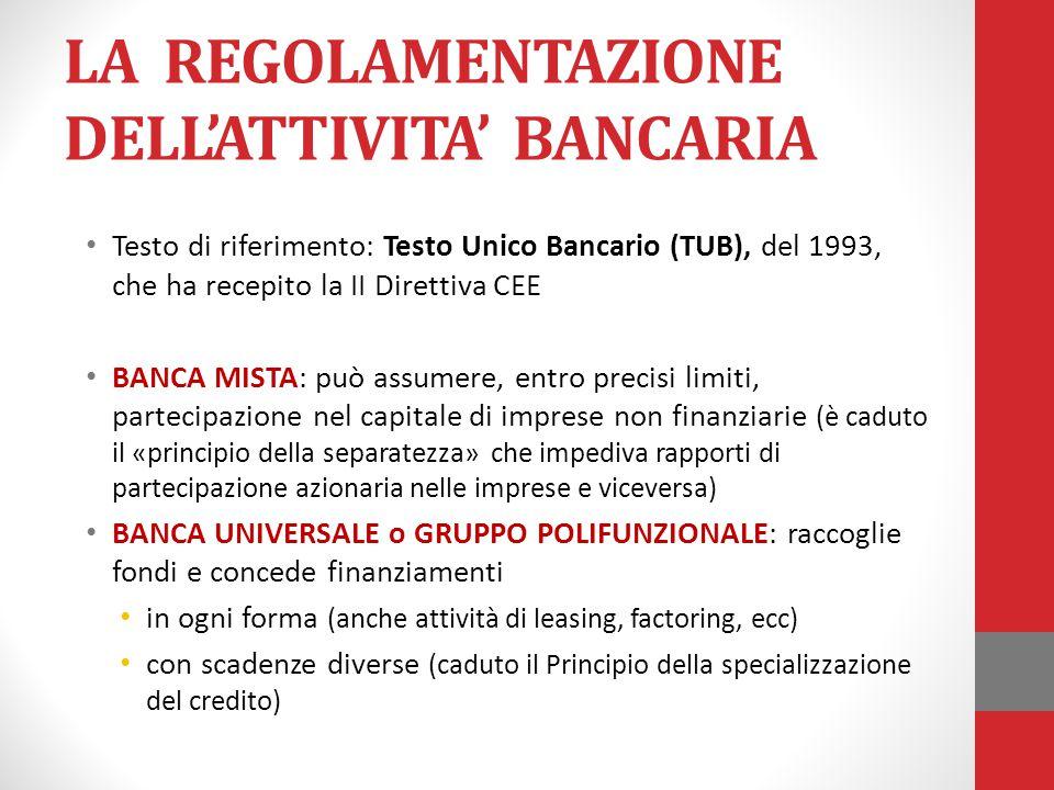LA REGOLAMENTAZIONE DELL'ATTIVITA' BANCARIA Testo di riferimento: Testo Unico Bancario (TUB), del 1993, che ha recepito la II Direttiva CEE BANCA MIST