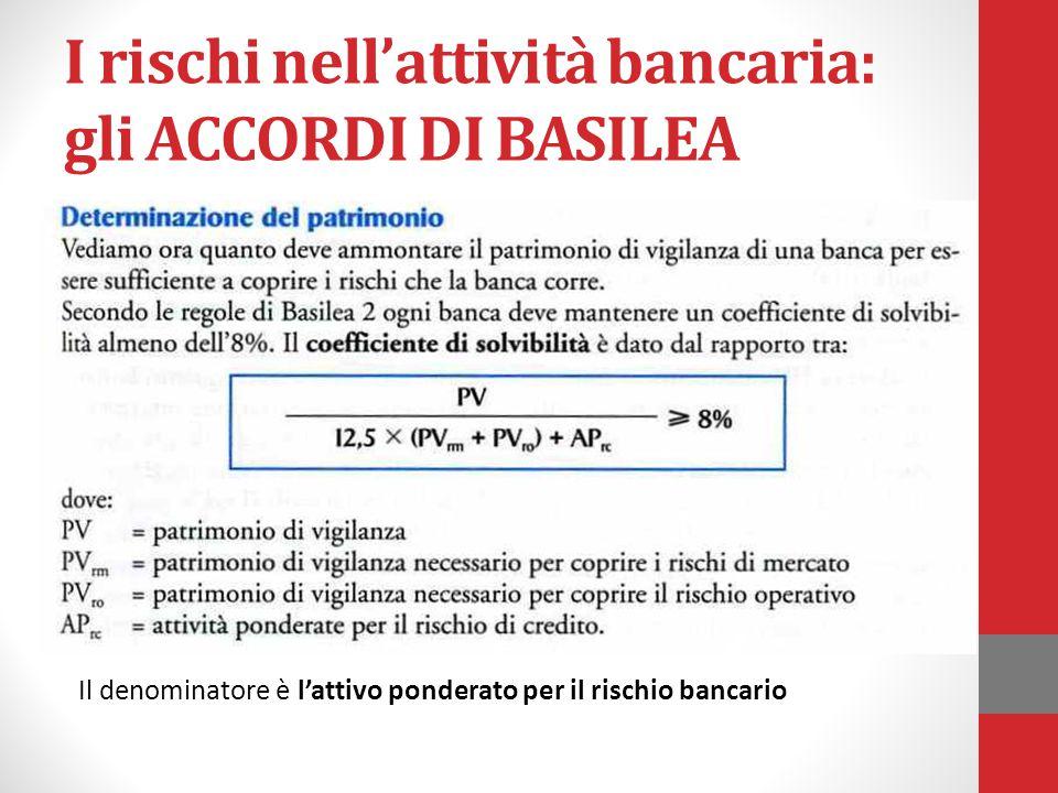 I rischi nell'attività bancaria: gli ACCORDI DI BASILEA Il denominatore è l'attivo ponderato per il rischio bancario