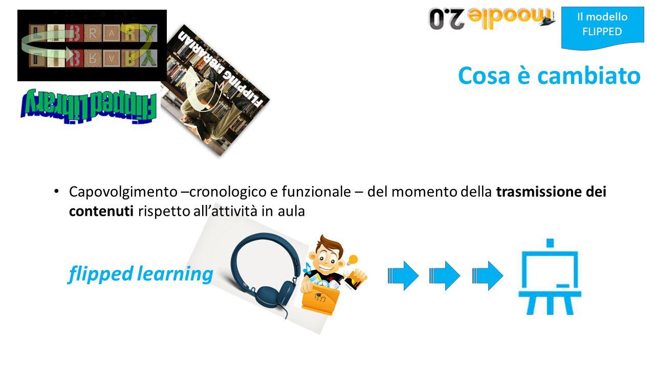 Il modello FLIPPED Cosa è cambiato Capovolgimento –cronologico e funzionale – del momento della trasmissione dei contenuti rispetto all'attività in aula flipped learning