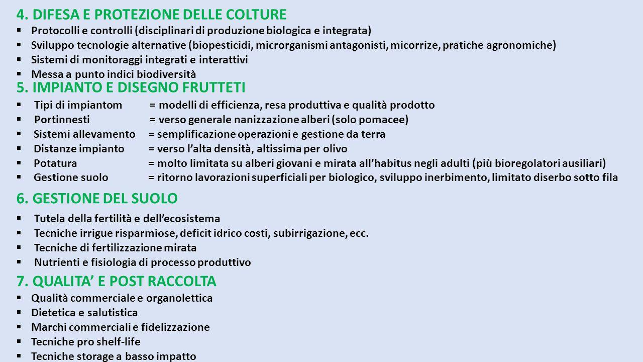 7. QUALITA' E POST RACCOLTA  Qualità commerciale e organolettica  Dietetica e salutistica  Marchi commerciali e fidelizzazione  Tecniche pro shelf