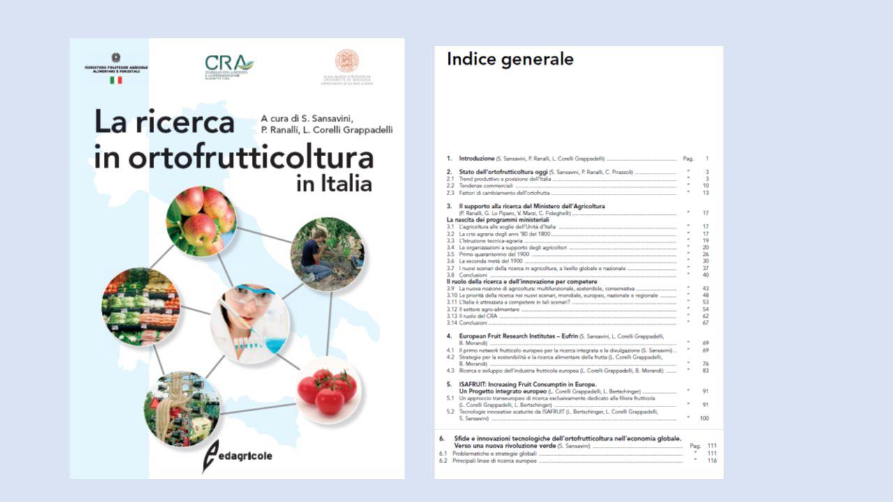 CONTENUTO E SCENARI La ricerca agricola in Italia, politiche e struttura organizzativa Componenti del sistema e loro evoluzione Dalla ricerca all'impresa agricola: esperienze di percorsi innovativi Quali innovazioni per l'agricoltura del 2020 Conclusioni pp 67 - 191 pp 1 - 63 pp 195 - 235 pp 239 - 327 SISTEMA ITALIA DELLA RICERCA AGRARIA: INDAGINE INEA (2014, pp 327)