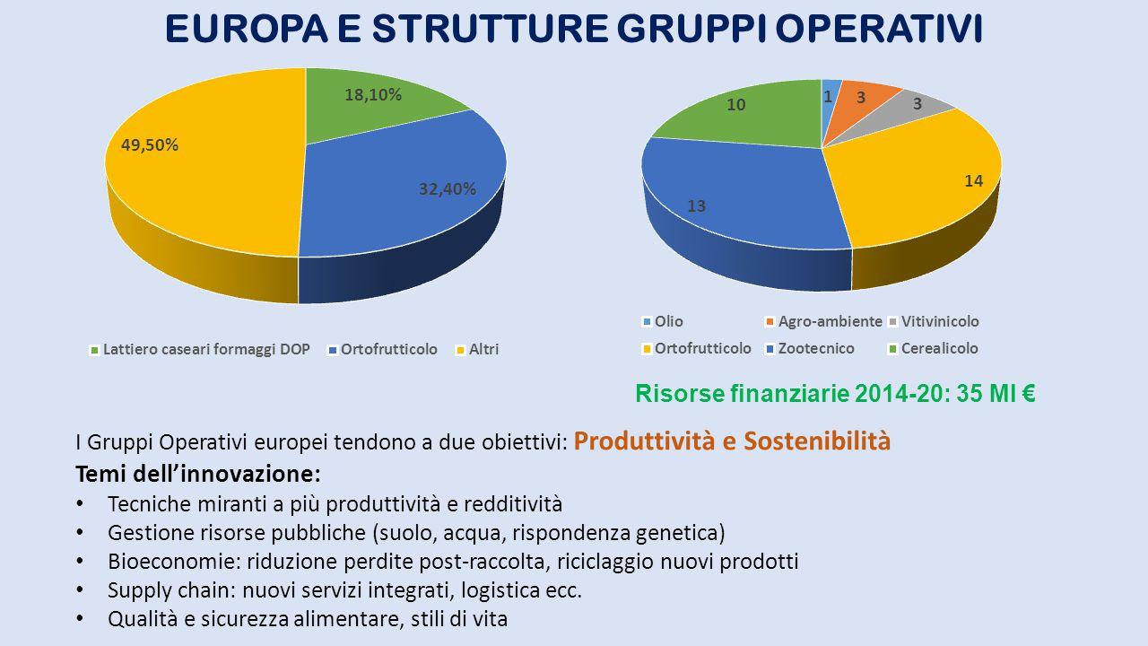 EUROPA E STRUTTURE GRUPPI OPERATIVI I Gruppi Operativi europei tendono a due obiettivi: Produttività e Sostenibilità Temi dell'innovazione: Tecniche m