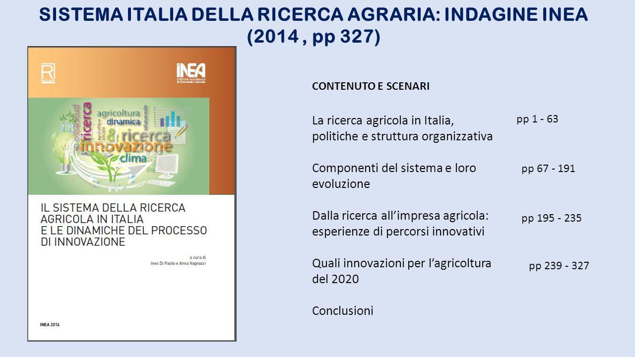 LA RICERCA AGRICOLA ITALIANA: BASILARE PER L'ORTOFRUTTICOLTURA Senza ricerca non c'è innovazione e senza innovazione tecnologica e relativo sviluppo non c'è competitività e futuro per le nostre imprese Difficoltà reperimento fonti statistiche Enti pubblici istituzionali decisori politici della ricerca: MIPAAF e CRA (ex Istituti Sperimentali) Regioni e province: Centri per la ricerca agraria e sperimentazione MIUR – Ministero Università e Ricerca CNR – Consiglio Nazionale Ricerche ENEA – Ente Nazionale Energie Alternative UE – Unione Europea Reti di organismi internazionali (FAO ecc.), EUFRIN Centri Sperimentali privati per Innovazione e Sviluppo PROBLEMI PRINCIPALI Finanziamenti Rapporto pubblico/privato Sottovalutazione ruolo ricerca (Peso e finalità inferiori alle necessità del Paese) Prevalenza sperimentazione e attività dimostrativa su ricerca finalizzata all'innovazione Deficit del rapporto con realtà di filiera e di mercato Formazione della domanda e piani collegamento e programmazione Gestione e controllo programmi Trasferimento e utilizzo risultati (Brevetti, licenze, quote partecipative, ecc.) Associazioni produttori Industrie agroalimentari Industrie mezzi produttivi e servizi Industrie informazione e comunicazione 1° 2° 3° 4°