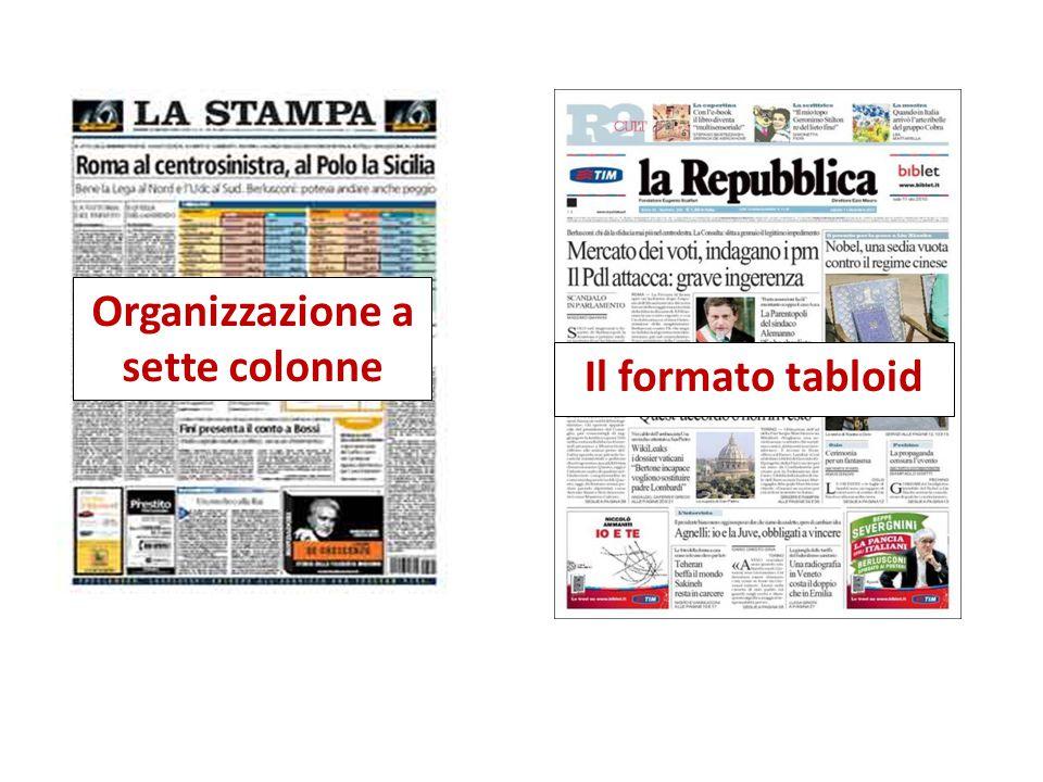Organizzazione a sette colonne Il formato tabloid