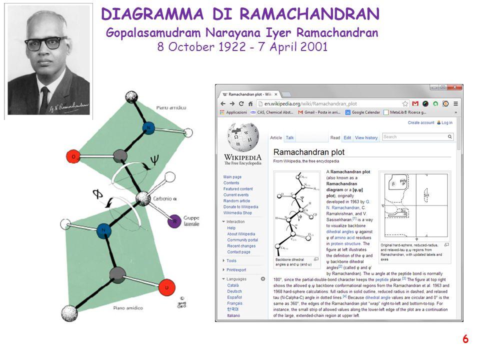 DIAGRAMMA DI RAMACHANDRAN Gopalasamudram Narayana Iyer Ramachandran 8 October 1922 - 7 April 2001 6
