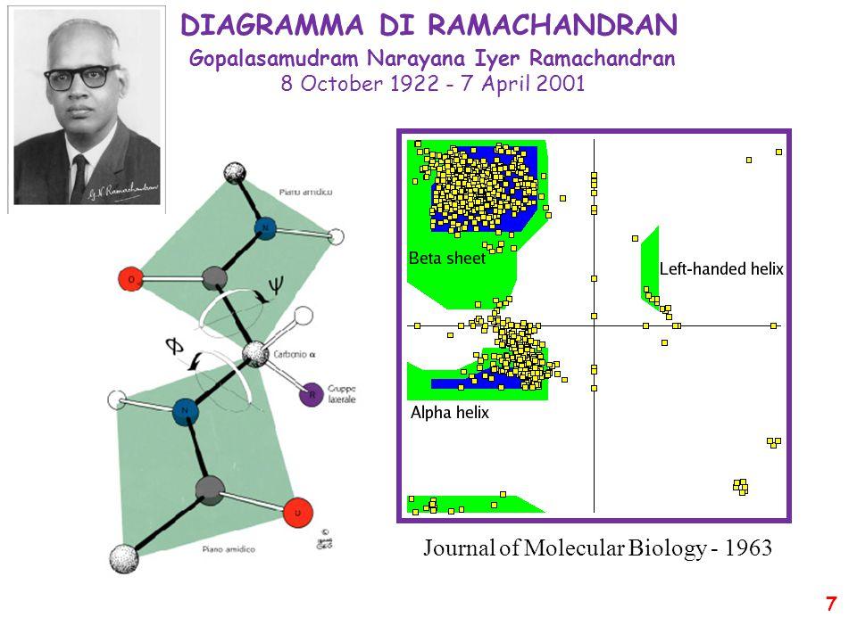 DIAGRAMMA DI RAMACHANDRAN Gopalasamudram Narayana Iyer Ramachandran 8 October 1922 - 7 April 2001 Journal of Molecular Biology - 1963 7