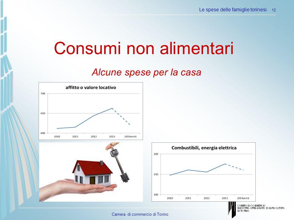 Camera di commercio di Torino Le spese delle famiglie torinesi 12 Consumi non alimentari Alcune spese per la casa