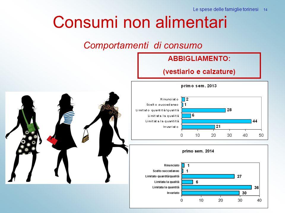 Consumi non alimentari Comportamenti di consumo Le spese delle famiglie torinesi 14 ABBIGLIAMENTO: (vestiario e calzature)