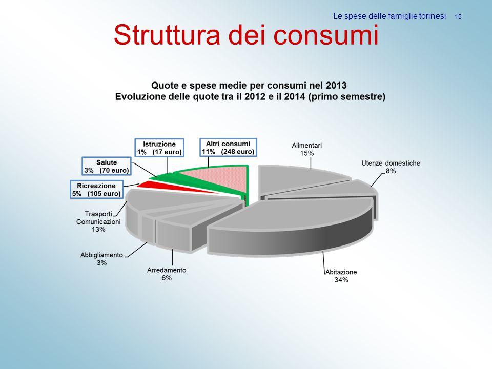 Struttura dei consumi Le spese delle famiglie torinesi 15