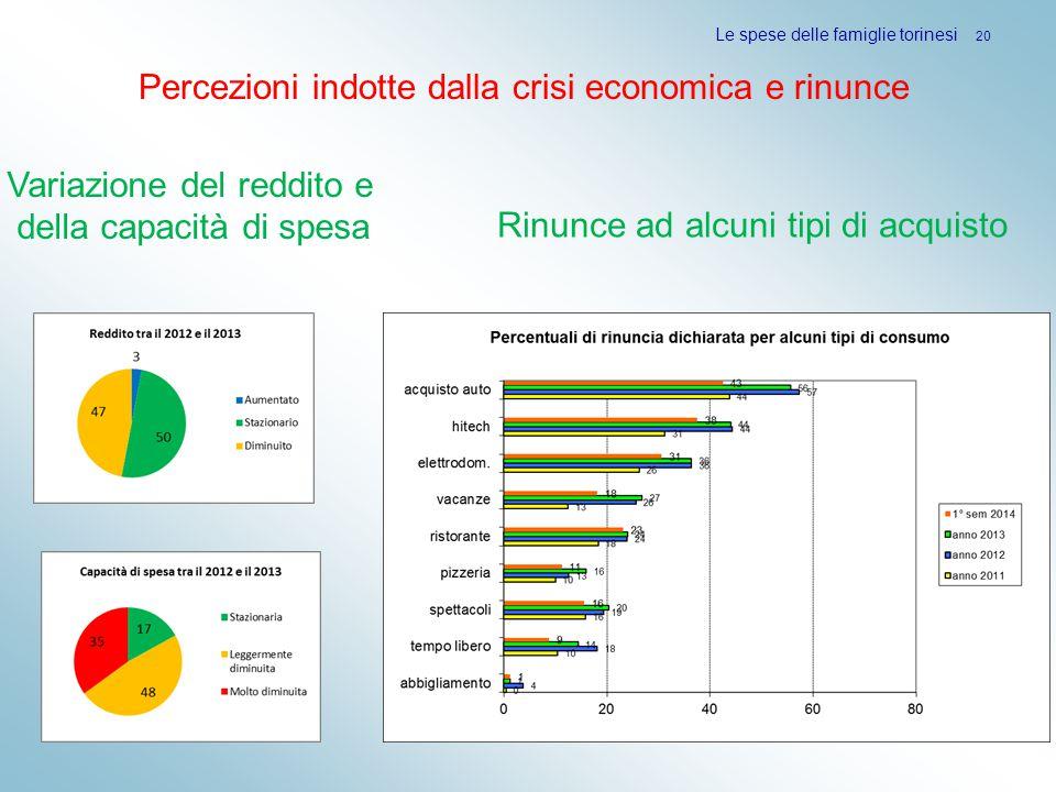 Le spese delle famiglie torinesi 20 Rinunce ad alcuni tipi di acquisto Variazione del reddito e della capacità di spesa Percezioni indotte dalla crisi economica e rinunce
