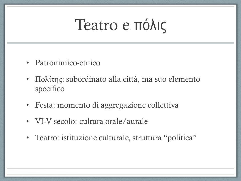 Α ὐ ταρχία Prodotto teatrale: Concepito da un cittadino Finanziato dalla π όλις Fruito dalla π όλις È un rito religioso