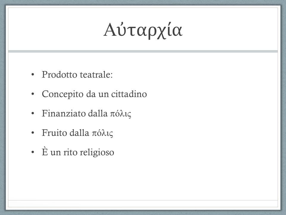Le feste religiose ed il teatro Piccole Dionisie o Dionisie rurali (dall'8 all'11 del mese di Posideone) Lenee, in onore di Dioniso Leneo (dall'8 all'11 del mese di Gamelione) Grandi Dionisie o Dionisie cittadine (dall'8 all'13 del mese di Elafebolione) Periodo invernale (da novembre a marzo) LA RELIGIONE = UNA STRUTTURA POLITICA DIONISO = DIO DELLA FERTILITÀ