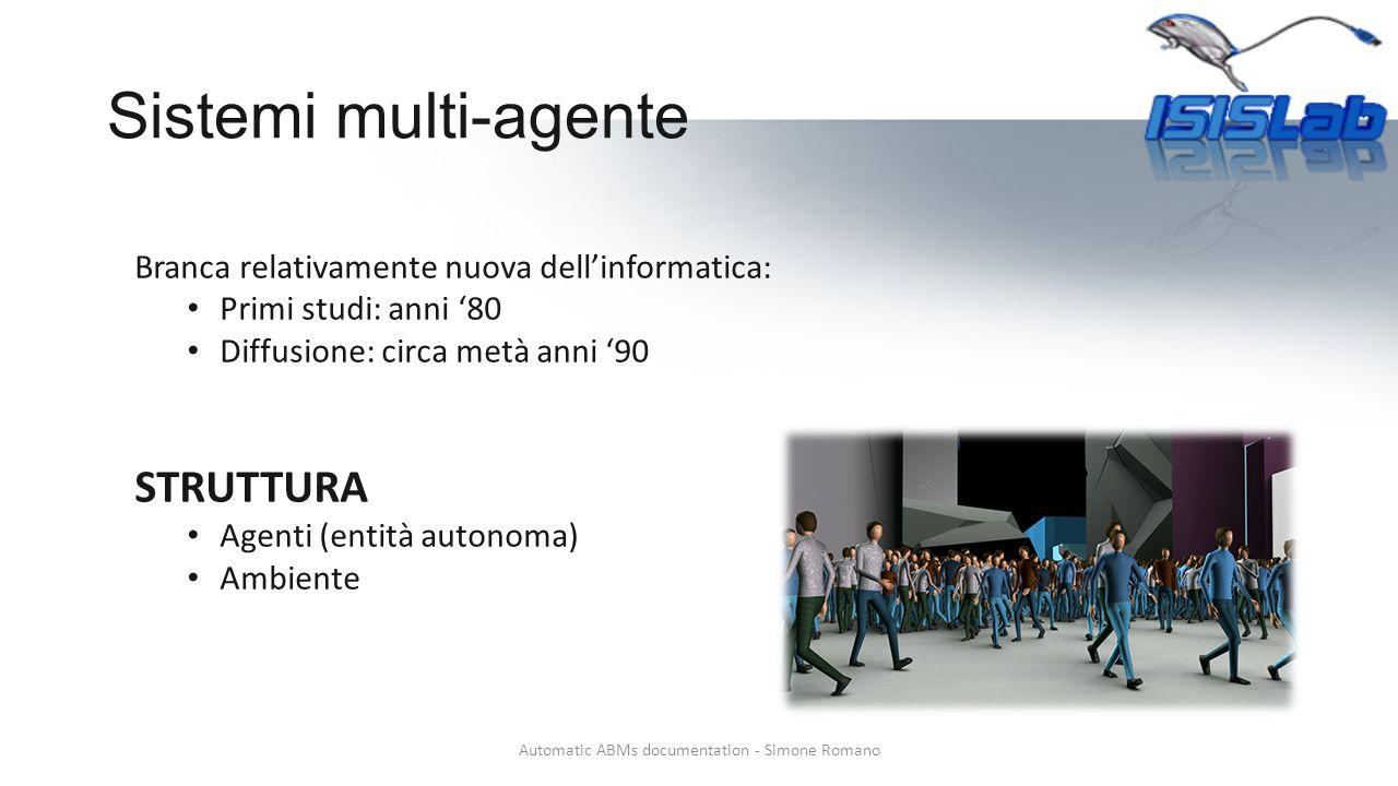 Sistemi multi-agente Automatic ABMs documentation - Simone Romano Branca relativamente nuova dell'informatica: Primi studi: anni '80 Diffusione: circa