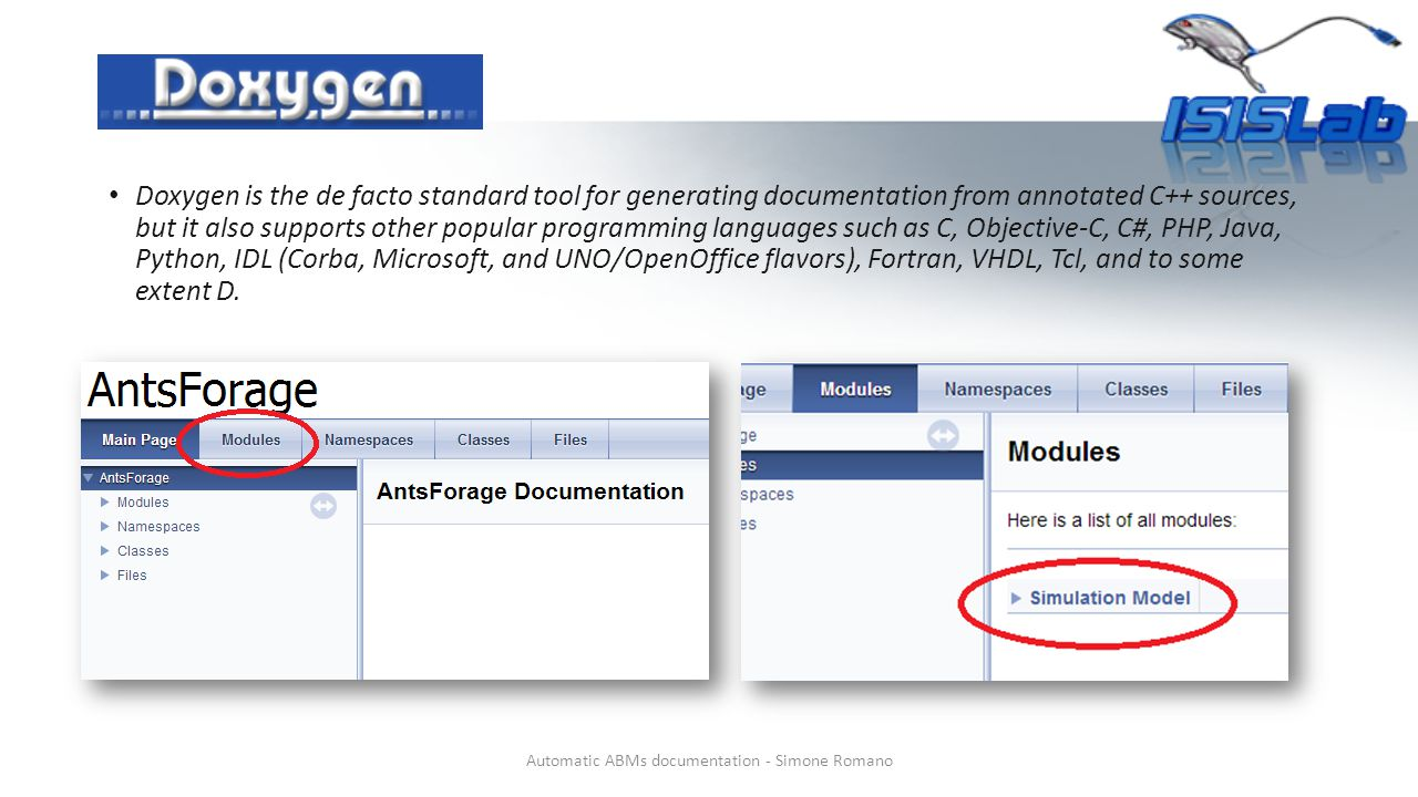Doxygen is the de facto standard tool for generating documentation from annotated C++ sources, but it also supports other popular programming languages such as C, Objective-C, C#, PHP, Java, Python, IDL (Corba, Microsoft, and UNO/OpenOffice flavors), Fortran, VHDL, Tcl, and to some extent D.