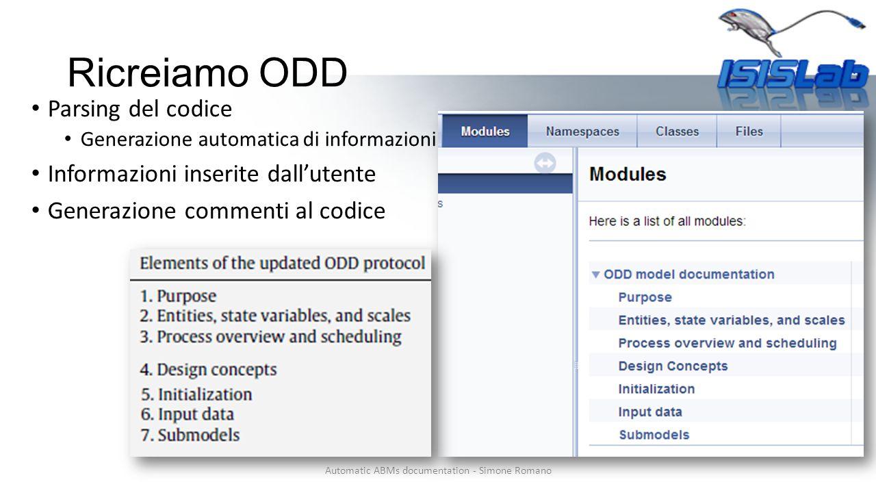 Ricreiamo ODD Automatic ABMs documentation - Simone Romano Parsing del codice Generazione automatica di informazioni Informazioni inserite dall'utente