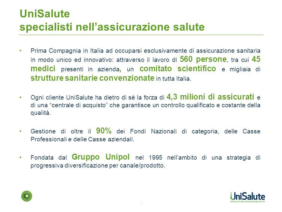 4 Fonte: elaborazione UniSalute UniSalute gestisce la relazione e il servizio per il 33% dei cittadini italiani aventi sanità integrativa (sia aziendale che individuale) UniSalute è la 1° compagnia assicurativa in termini di clienti gestiti, con circa il 4 5% dei clienti, e la seconda in termini di premi emessi.